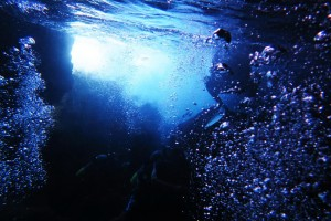 "Inside the ""Okinawa Blue Grotto""."