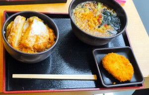 """Soba and Tonkatsu Dish"" with croquette."