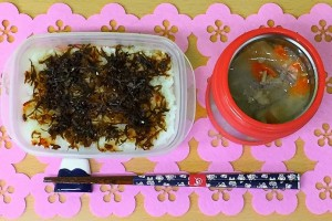 Todays lunch is , rice with tsukuda-ni(food boiled in soy) and miso soup.