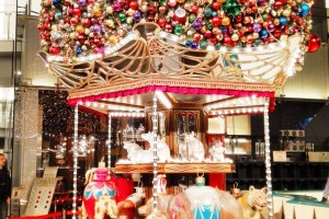 Tokyo area: Merry-go-round type Christmas tree with sculptures of famous skater (Hanyu Yuzuru).