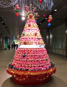 Yurakucho area: Monkey Christmas tree (The Japanese Eto of the year 2016 is the monkey).