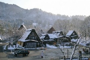 """Gassho"" style houses in winter"