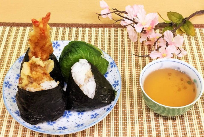 "You can eat few types of ""Onigiri""."
