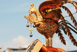 """The roof of """"Mikoshi"""" has often marked with phoenix or orb."""