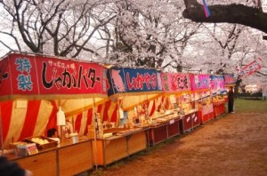 "street stalls in ""Ohanami"" (cherry-blossom viewing)"