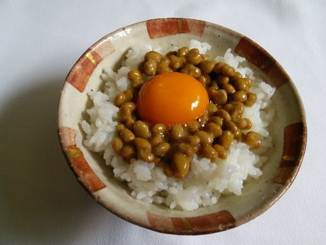 """Natto"" and egg on the rice"