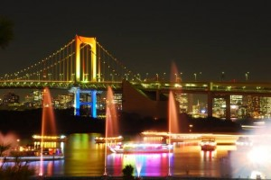 "Night view of the ""Rainbow Bridge""."