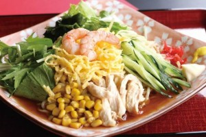 "Seafood ""Hiyashi chuka"" with shrimp topping."
