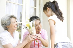 "many Japanese people give a gift to one's grandparents in ""Keirou-no-hi""."