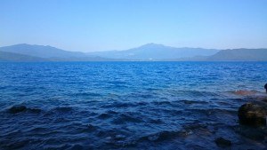 """The color of the lake is blue, and it is a unique color. called """"the Lake Tazawa blue""""."""