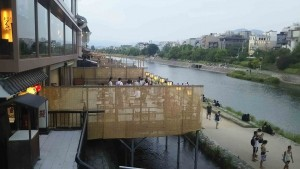"""This exterior decks are made by wood on """"Kamogawa""""."""