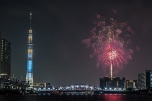 """Tokyo Sky tree"" and Fire works."