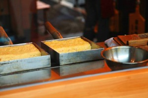 """Dashimaki tamago"" is baked by square pan and chopsticks."