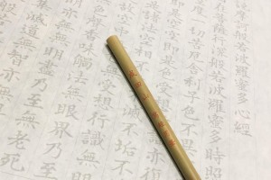 "The modern ""shakyo"" is to trace the printed characters in the copybook."