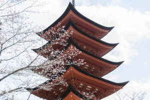 Toyokuni Shrine with a five-storied pagoda in spring