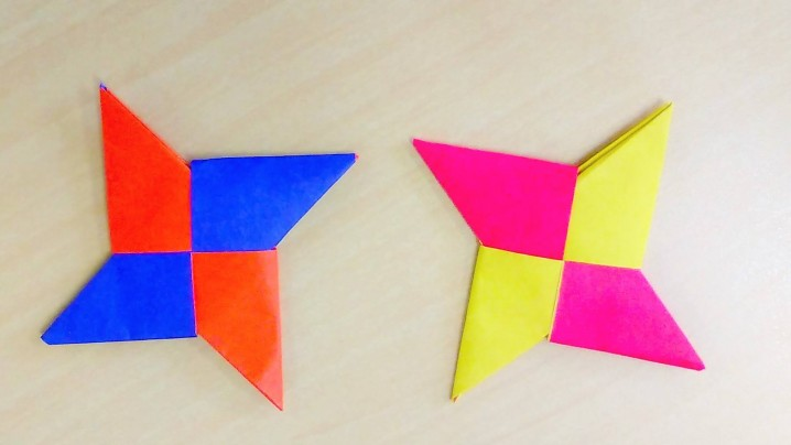 "The most popular ""shuriken"" is made with 2 pieces of origami."