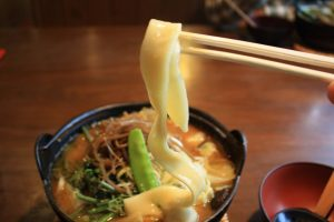 """Hoto"" noodles are wider and flatter compared to regular udon noodles."