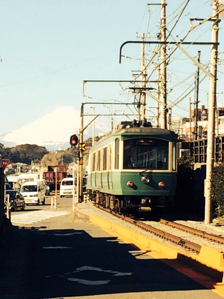 """Enoden"" with Mt. Fuji."