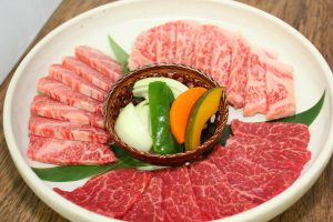 "raw ""wagyu"" (Japanese cattle) and vegetables"